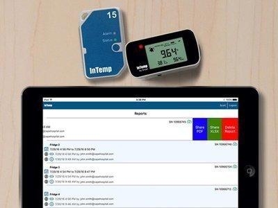 O aplicativo InTemp funciona com telefone ou tablet